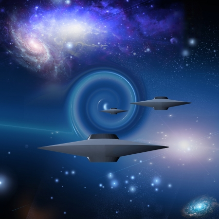 starship: Space Craft Travels Via Wormhole