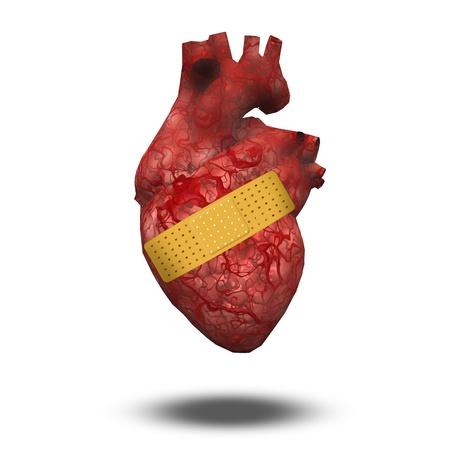clavados: Corazón con vendaje Foto de archivo
