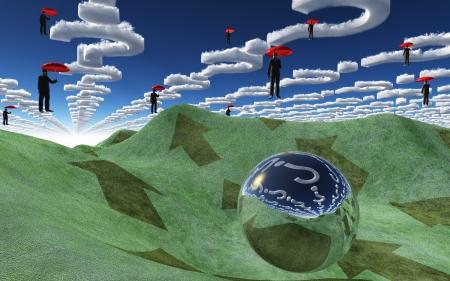 Question clouds over surrreal landscape