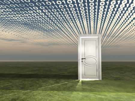 door way: Doorway in landscape with binary streaming