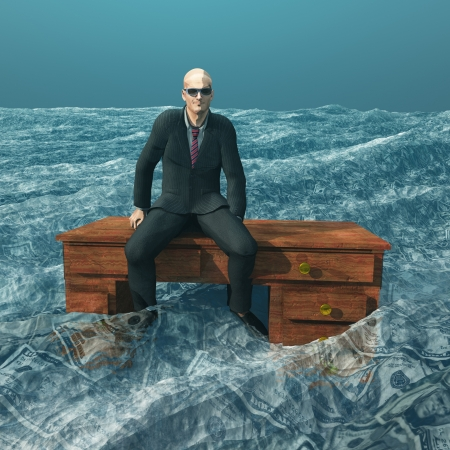 greedy: Man afloat on desk in sea of currency Stock Photo