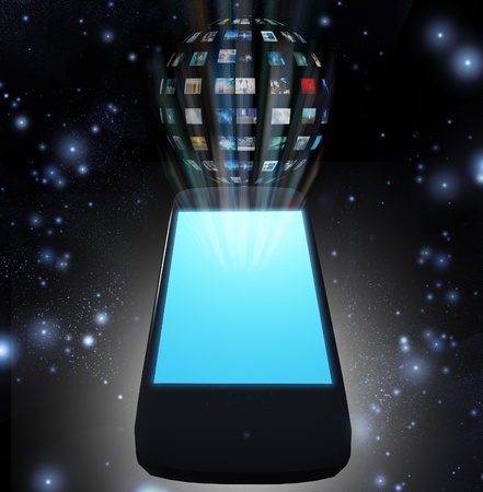 mobile device: Smart Phone Video Sphere or Image Sphere Stock Photo