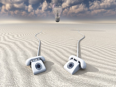 Old Rotary Phones in Barren Landscape photo