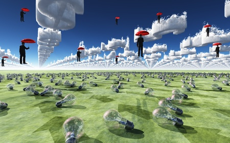 Surreal Scene with men floating in sky above field of light bulbs photo