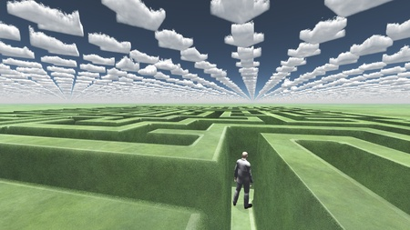 find answers: Figure inside of maze with arrow clouds above Stock Photo