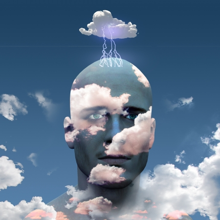 clouds: Mans head in clouds