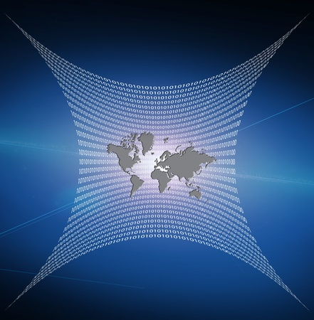 Internet represented by web of binary photo