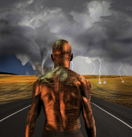 Electronic man faces storm photo
