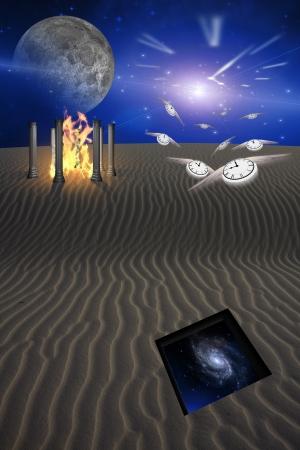 portone: Scena del deserto con apertura nella Sands Galaxy Rivelare Mentre Passses Tempo Into the Unknown Archivio Fotografico