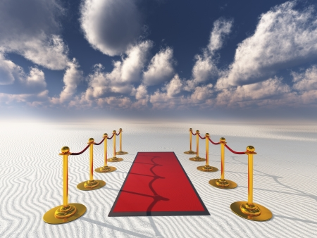 walk of fame: red carpet in desert sands