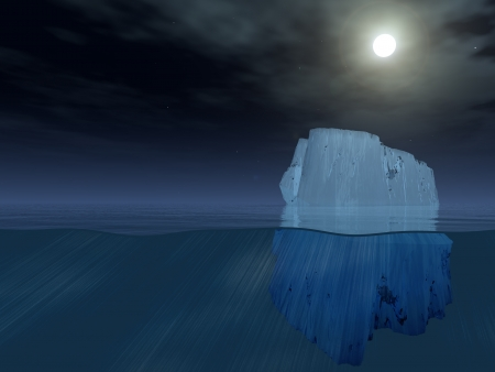 floating on water: Iceberg at night