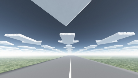 Arrow clouds and roadway photo