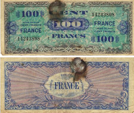 bank notes: 100 Francs Note 1944 front and back