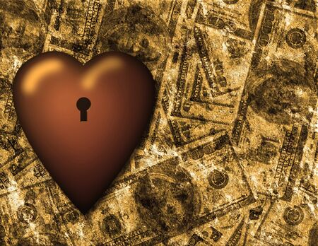 us currency: Locked heart and US currency background