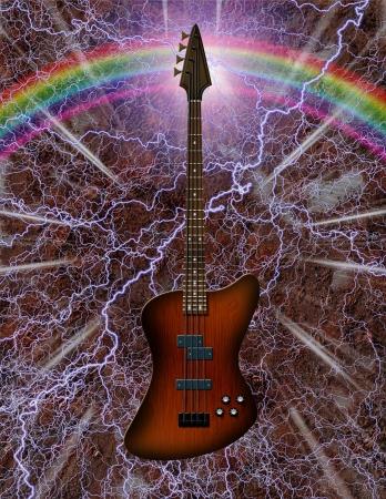 blues music: Electric Bass Guitar Stock Photo