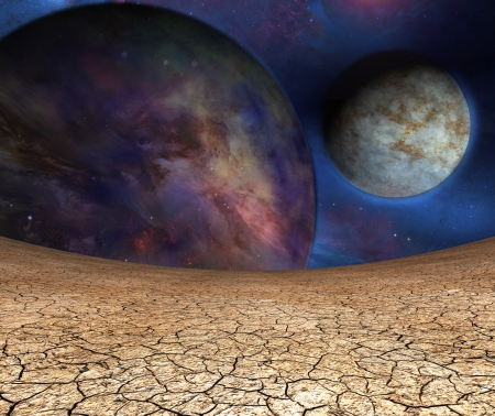 cracked earth: Planets and cracked earth Stock Photo