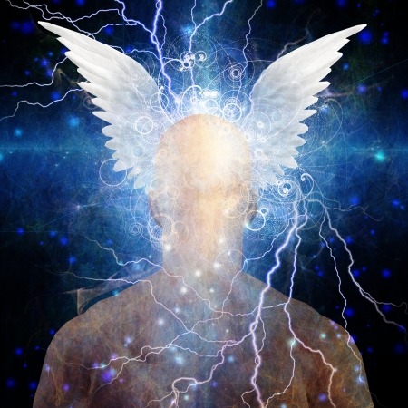 consciousness: Mans head with stars and clouds