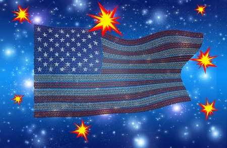 USA Flag of Binary Code with Explosions Stock Photo - 19687799