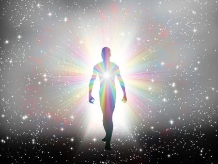 Man in rainbow light and stars Stock Photo - 19687716