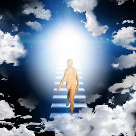 Man trvels up stairway into heavens photo