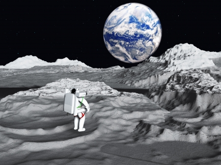 superficie: El astronauta lunar ve salida de la Tierra Foto de archivo