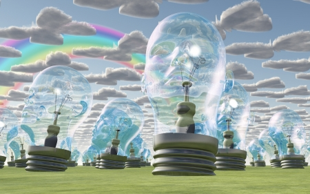 Human head bulbs under happy sky photo