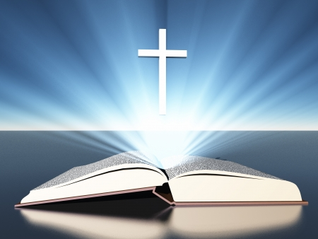 bible and cross: Light radiates from bible under cross