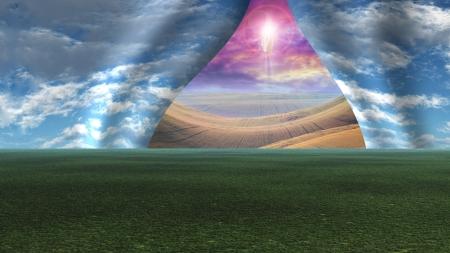 vangelo aperto: Sky smembrato come sipario per rivelare il Cristo Archivio Fotografico