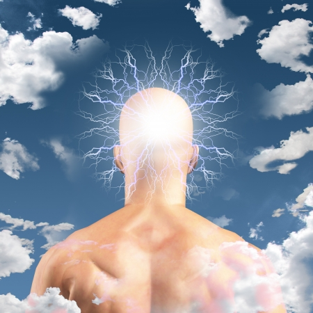 Man with Head in clouds photo