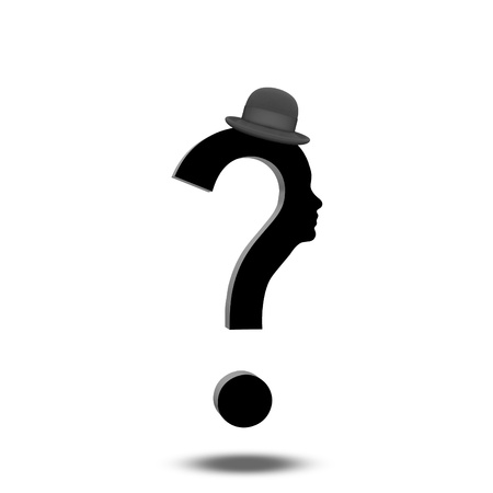 Question Mark Human with Hat Stock Photo - 19687690