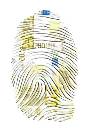 wealthy: Euro Finger Print Stock Photo