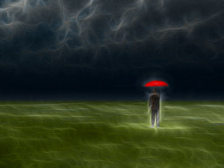 monsoon clouds: Man with red umbrella under gathering storm Stock Photo
