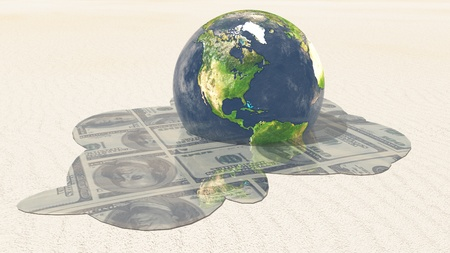 Earth melts revealing dollars Elements in this image furnished by NASA photo