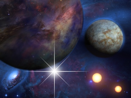 astral: Planets and suns Stock Photo