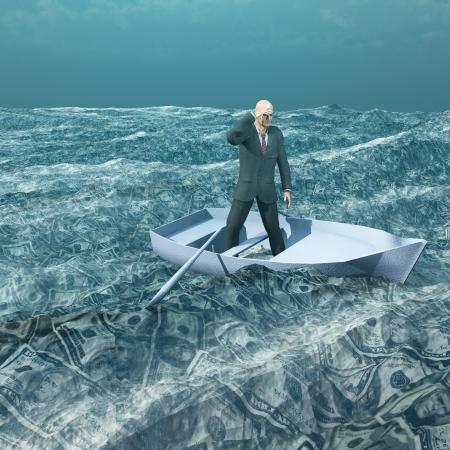 L'homme à flot dans petit bateau sur la mer de monnaie