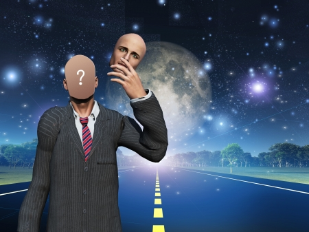 mind body soul: Man removes face showing query while standing on highway