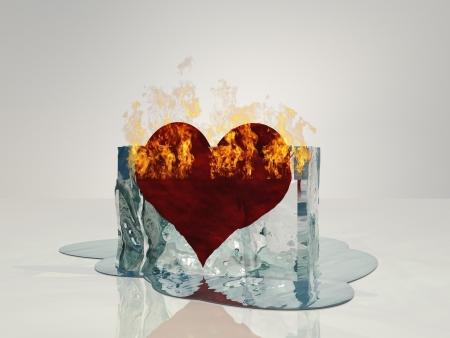 melting ice: Coraz�n en la fusi�n del hielo del fuego