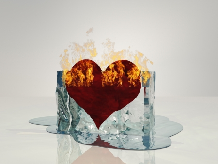 Heart on fire melting ice photo