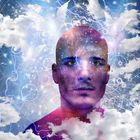 Mans head with stars and clouds Stock Photo - 19982322