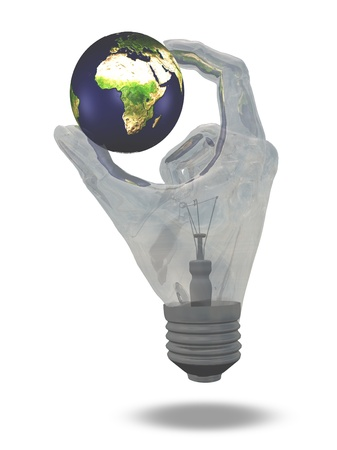 Light Bulb hand holds earth showing Africa, middle east and europe photo