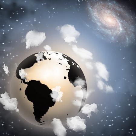 hangs: Earth hangs in space