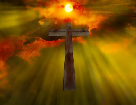 sacrificio: Cruz de madera cuelga en el cielo