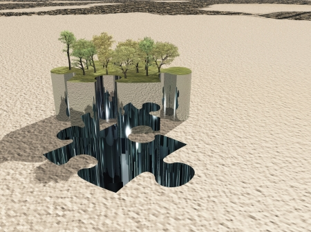 Puzzle peice oasis on sand