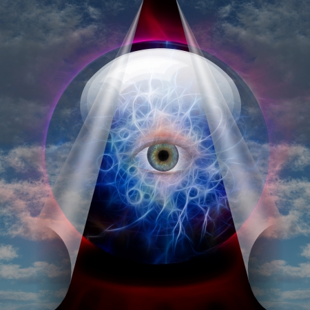 esoteric: Crystal Ball reveals eye Stock Photo