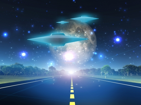 Alien craft on roadway in country Stock Photo - 19982282