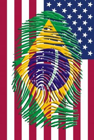 brazilian flag: Brazil finrer mark and USA banner
