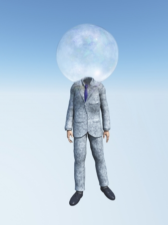 Man in suit with Bubble for head photo