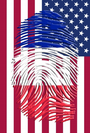 french flag: French American Flags Finger Print