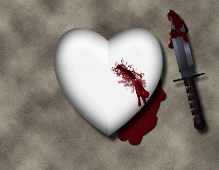 broken love: bleeding heart with bloody knife Stock Photo