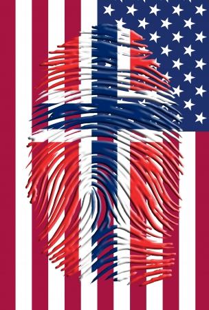 노르웨이 플래그 fingermark와 미국 국기 스톡 콘텐츠 - 20167868